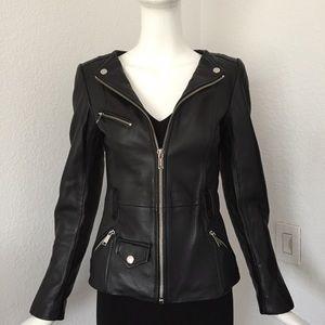 Michael Kors black leather moto jacket